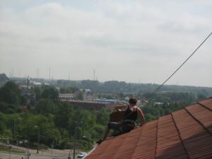 Gefahrensicherung auf dem Norddach der Petrikirche