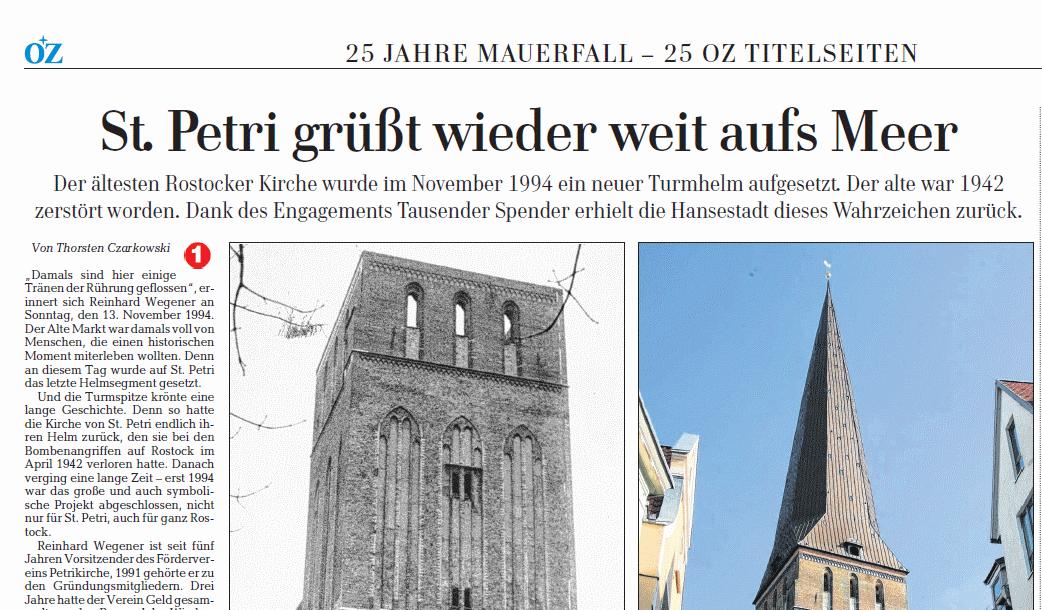 Artikel zum 20-jährigem Turmjubiläum in der OZ, 26./27.07.2014