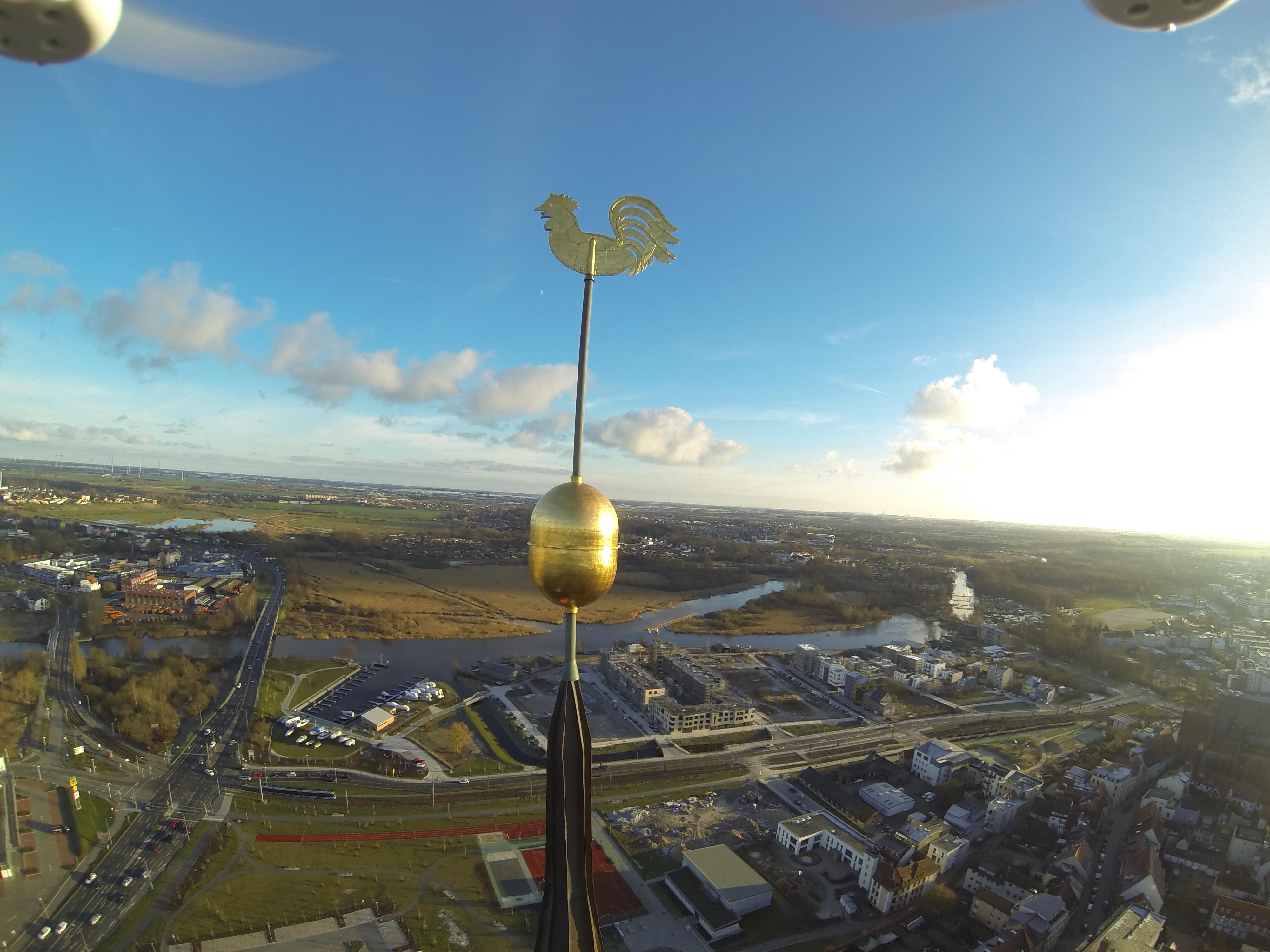 Turmkugel mit Wetterhahn