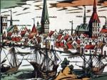1550-60Holzschnitt-der-Rostocker-Ansicht-von-Norden-mit-Versen-von-Hans-Sachs