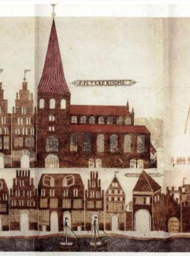 Darstellung der Petrikirche auf der Vicke-Schorler-Rolle (1586)