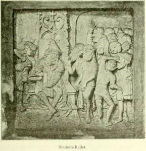 1896 Kreuzwegrelief in St. Petri, vermutlich Anfang 16. Jh entstanden, befand sich ursprünglich an einem Haus vor dem Kirchturm. Stationen mit weiteren Reliefbildern fürten zur ehemaligen Stätte der Clemenskirche