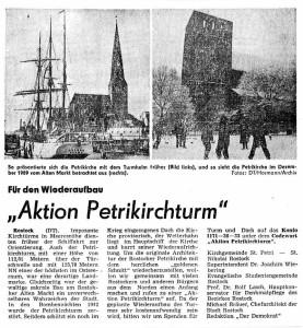 Artikel: Aktion Petriturm, 21.12.1989 in der Zeitung Demokrat erschienen.