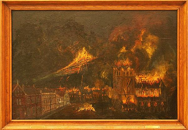 Die Zerstörung der Petrikirche 1942, Ölmalerei von Artur Krohn, gestiftet für die Petrikirche, hängt an der Westwand des Mittelschiffes