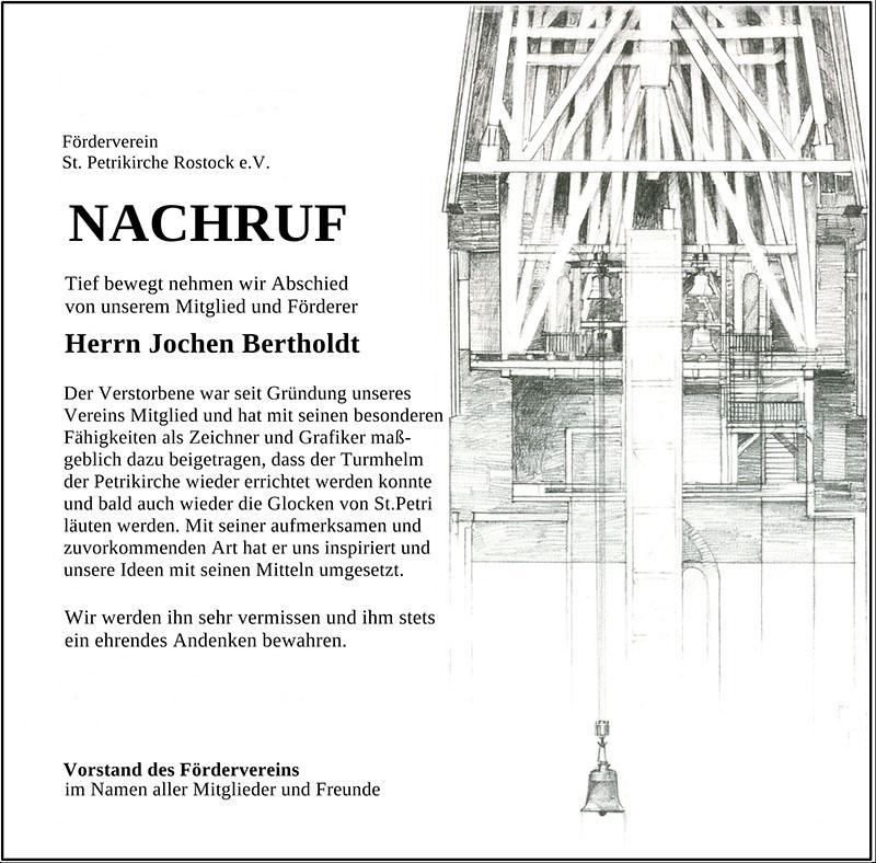 Nachruf (Text und Aufbau von Harald Turner) für unser Vereinsmitglied Jochen Bertholdt im Januar 2021